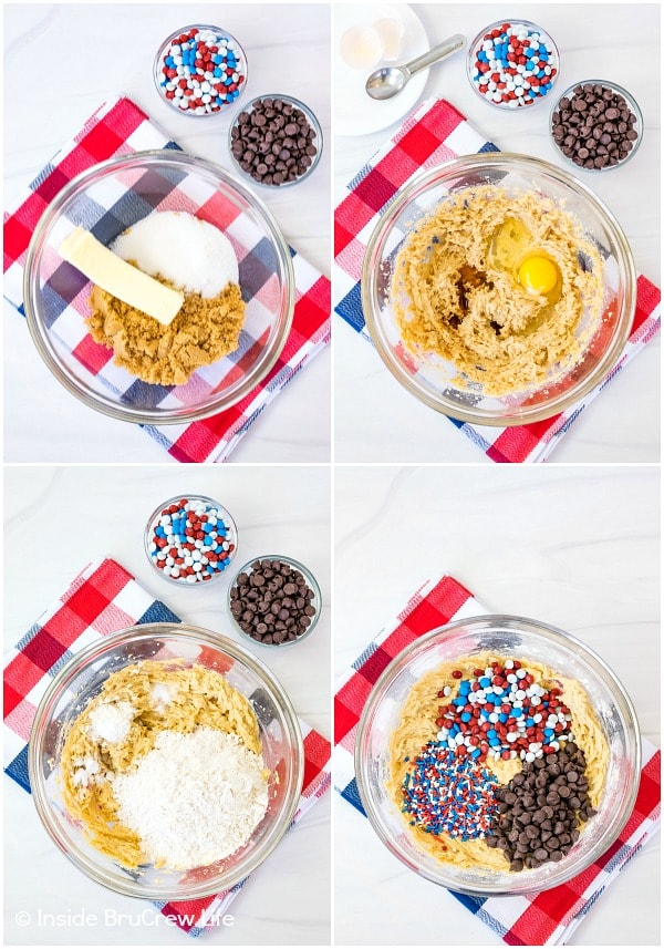 Four pictures showing how to make the cookie dough for a patriotic chocolate chip cookie pie