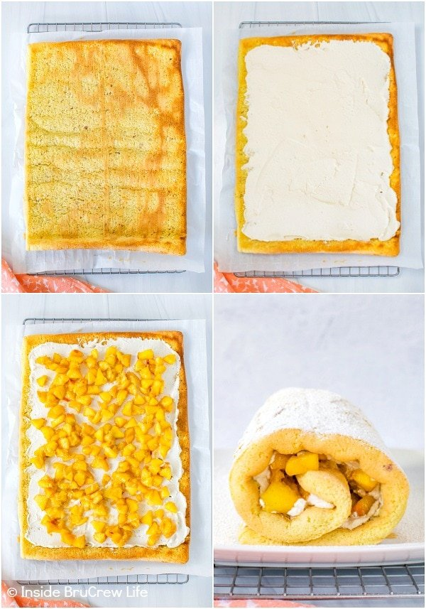 Four pictures collaged together showing how to fill and roll a peaches and cream cake roll