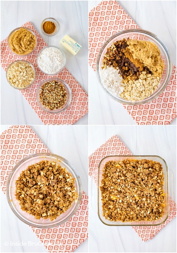 Four pictures collaged together showing how to make the topping for peach crisp
