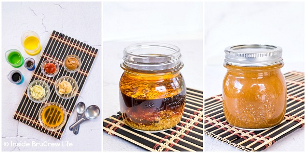 Three photos collaged together showing how to make Asian Salad Dressing.