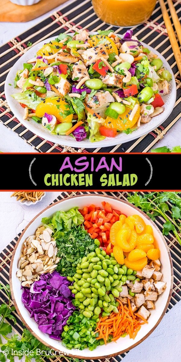Two photos of Asian Chicken Salad collaged together with a black text box