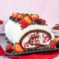 Berries and Cream Chocolate Cake Roll