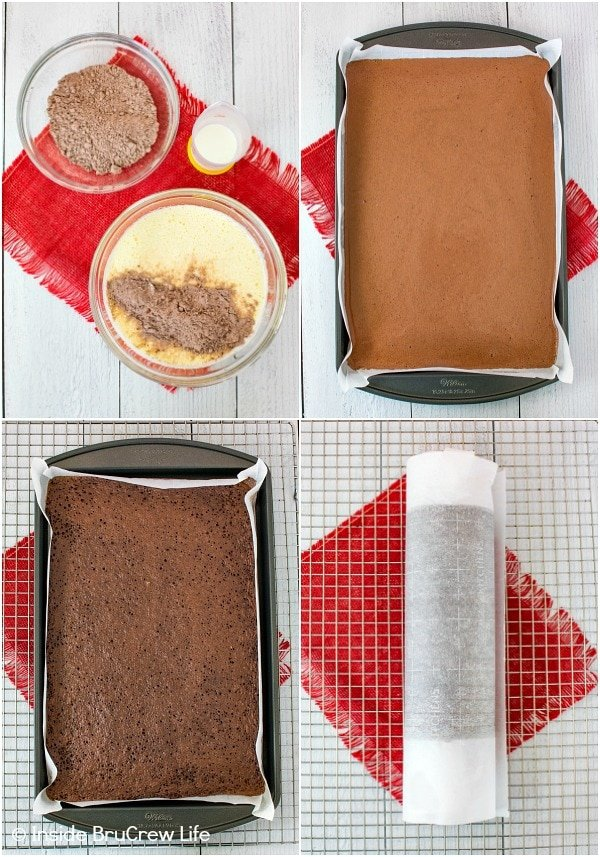 Four pictures collaged together showing how to make a chocolate cake roll