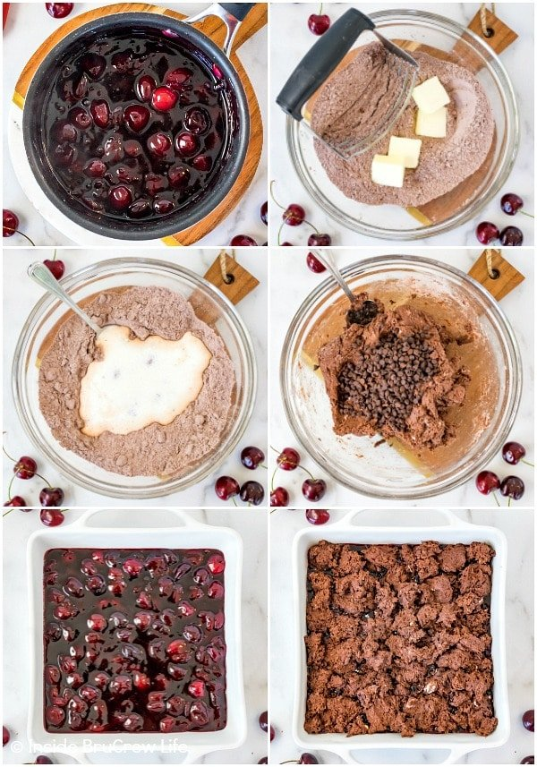 Six pictures collaged together showing how to make a chocolate cherry cobbler