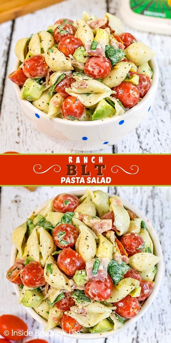 Two pictures of ranch BLT pasta salad collaged together with a red text box