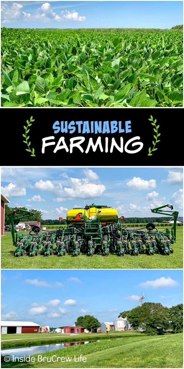 Three farming pictures collaged together with a black text box
