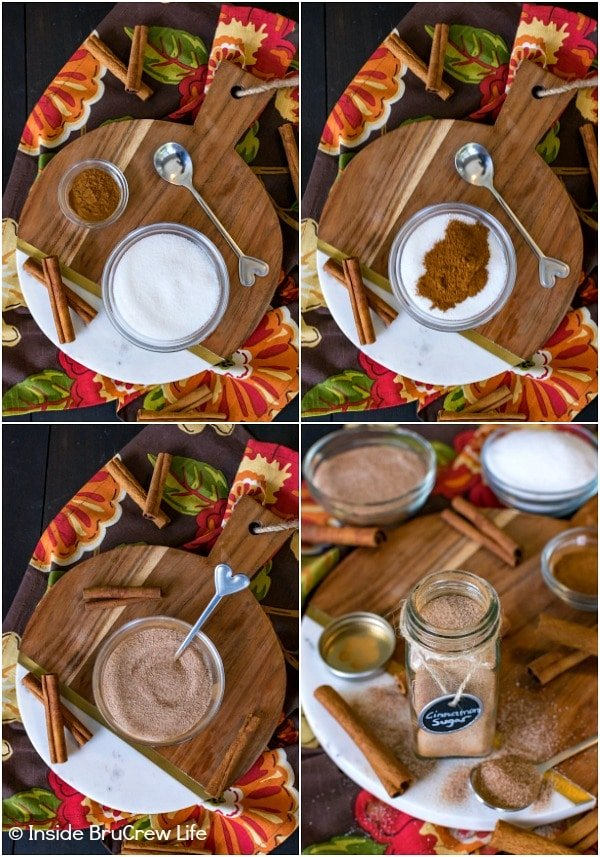 Four pictures collaged together showing how to make your own homemade cinnamon sugar