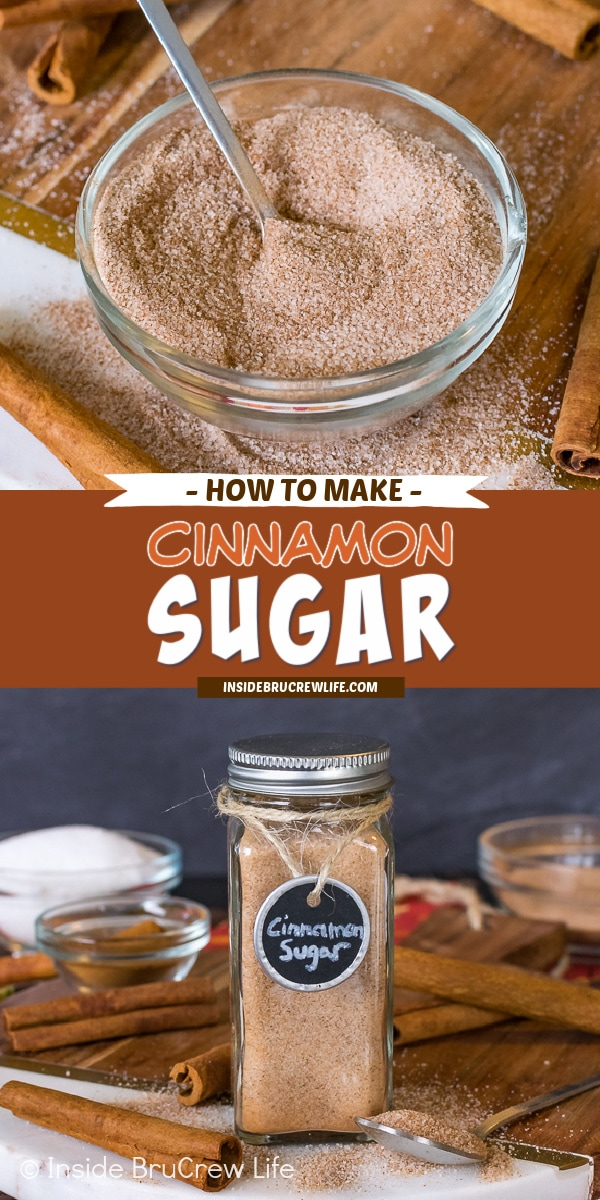 Two pictures of cinnamon sugar collaged together with a red brown text box.