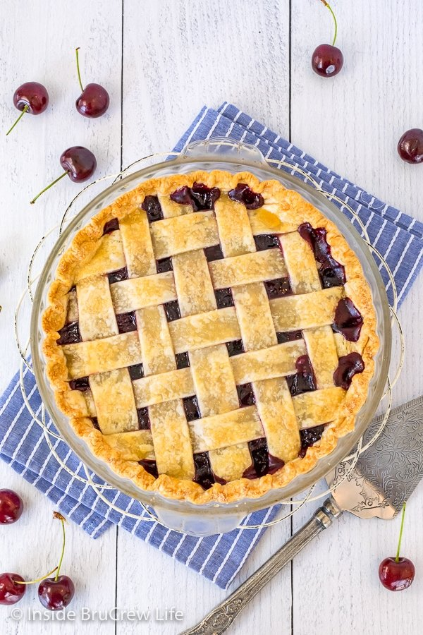 Overhead picture of a cherry pie with a lattice crust top