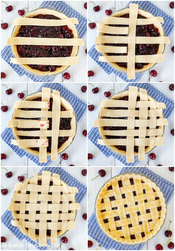 Six pictures collaged together showing how to weave dough to make a lattice crust