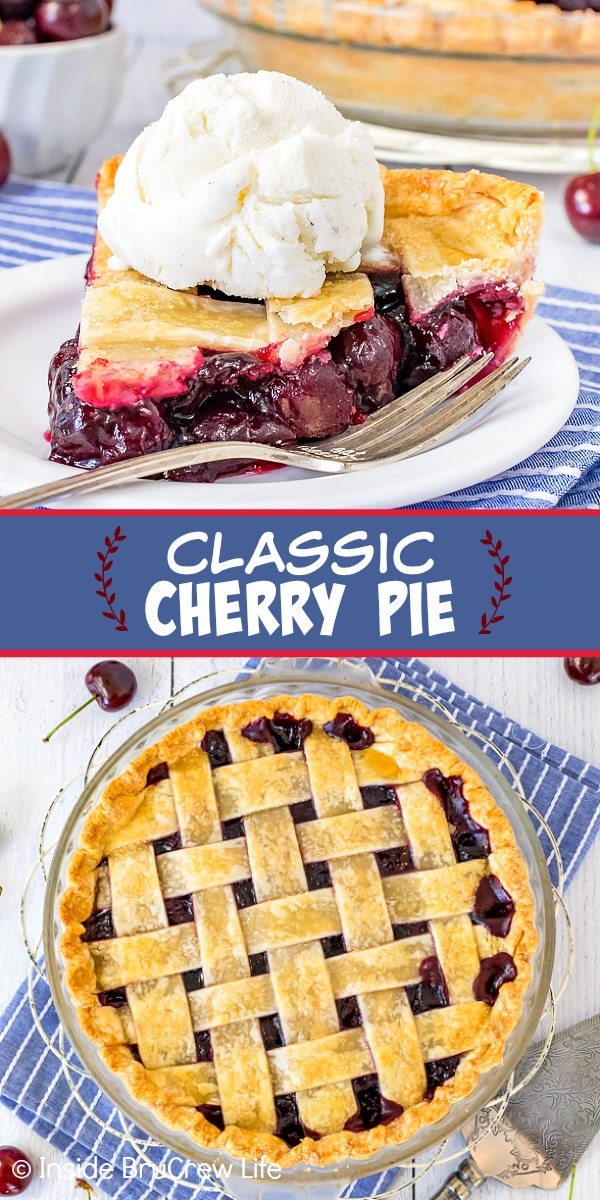 Two pictures of Classic Cherry Pie collaged together with a blue text box