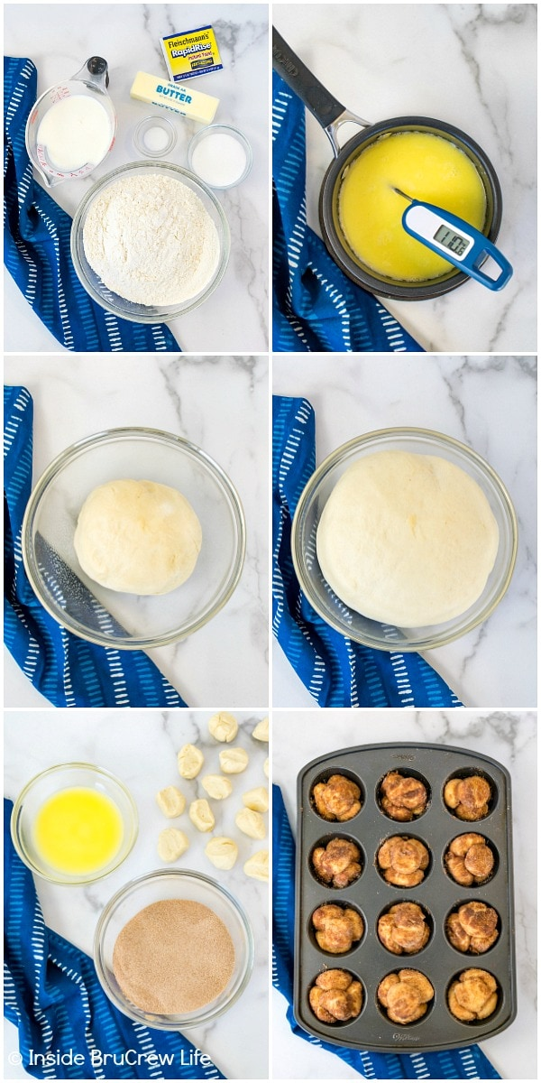 Six pictures collaged together showing how to make monkey bread muffins