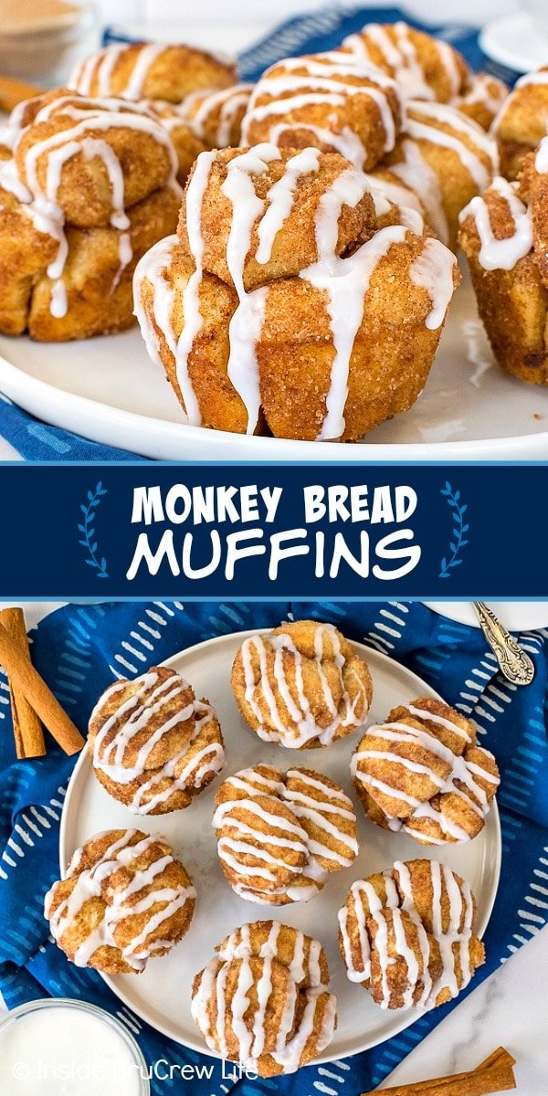 Two pictures of Monkey Bread Muffins collaged together with a blue text box