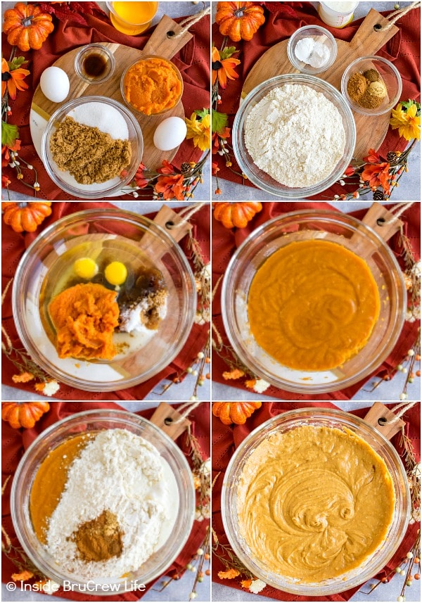 Six pictures collaged together showing how to make the batter for pumpkin cream cheese muffins