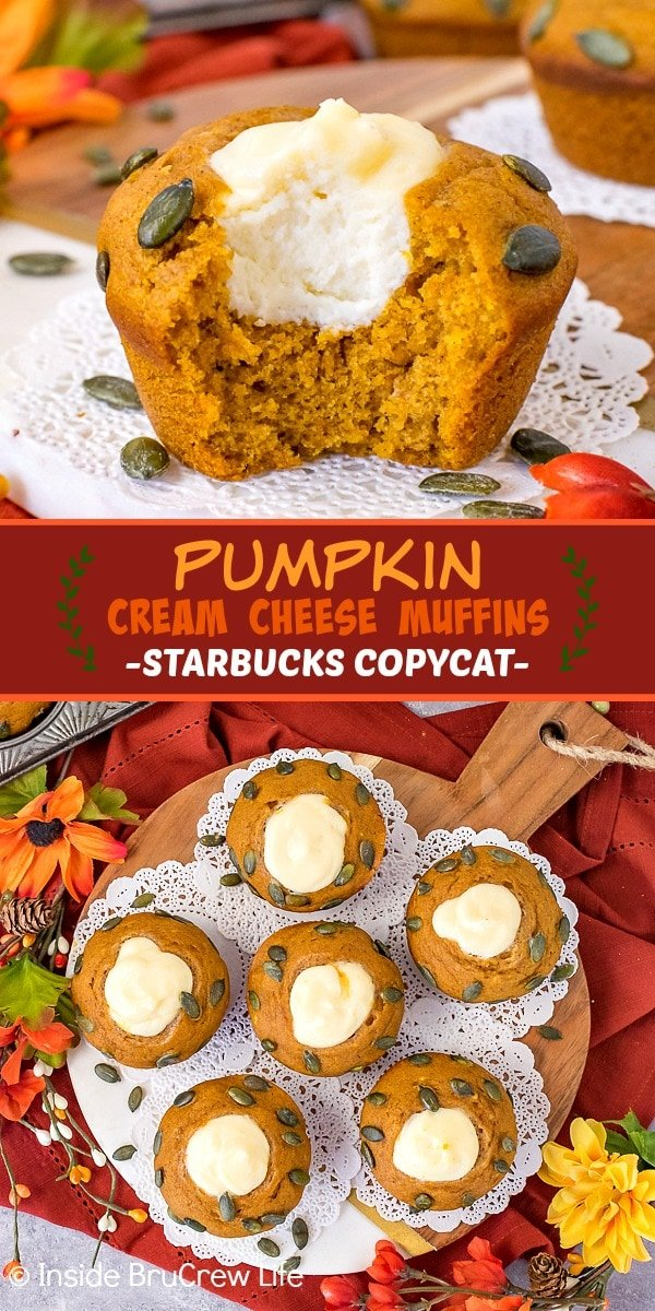 Two pictures of pumpkin cream cheese muffins collaged together with a dark orange text box