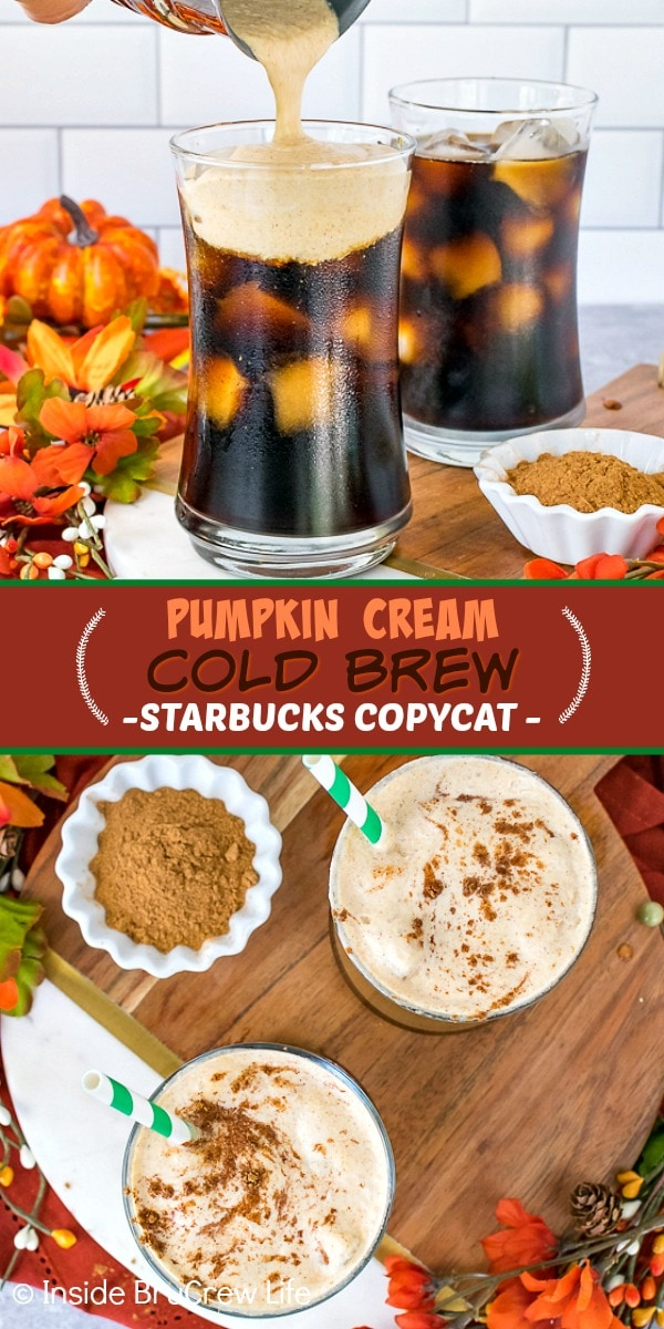 Two pictures of pumpkin cream cold brew collaged together with a dark orange text box