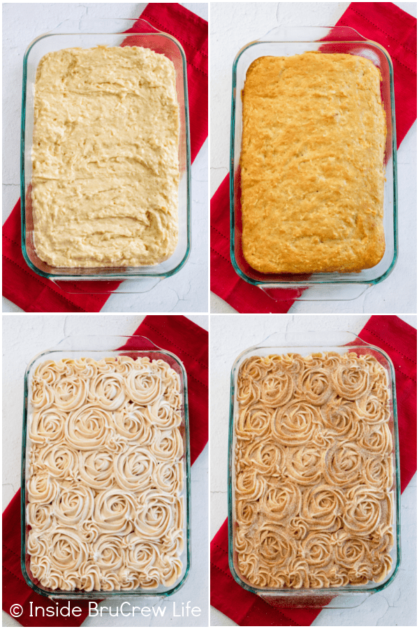 Four pictures collaged together showing the steps to frosting a snickerdoodle apple cake.