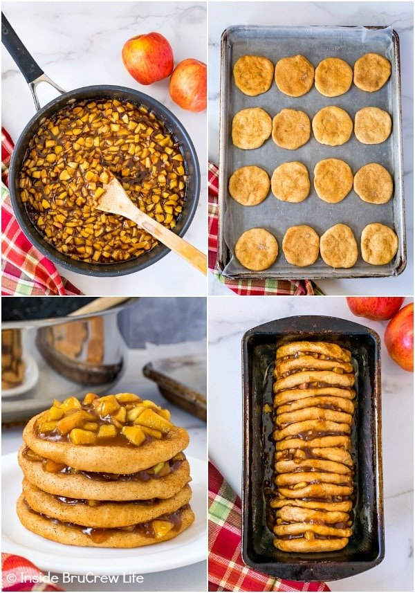 Four pictures collaged together showing how to make apple cinnamon pull apart bread