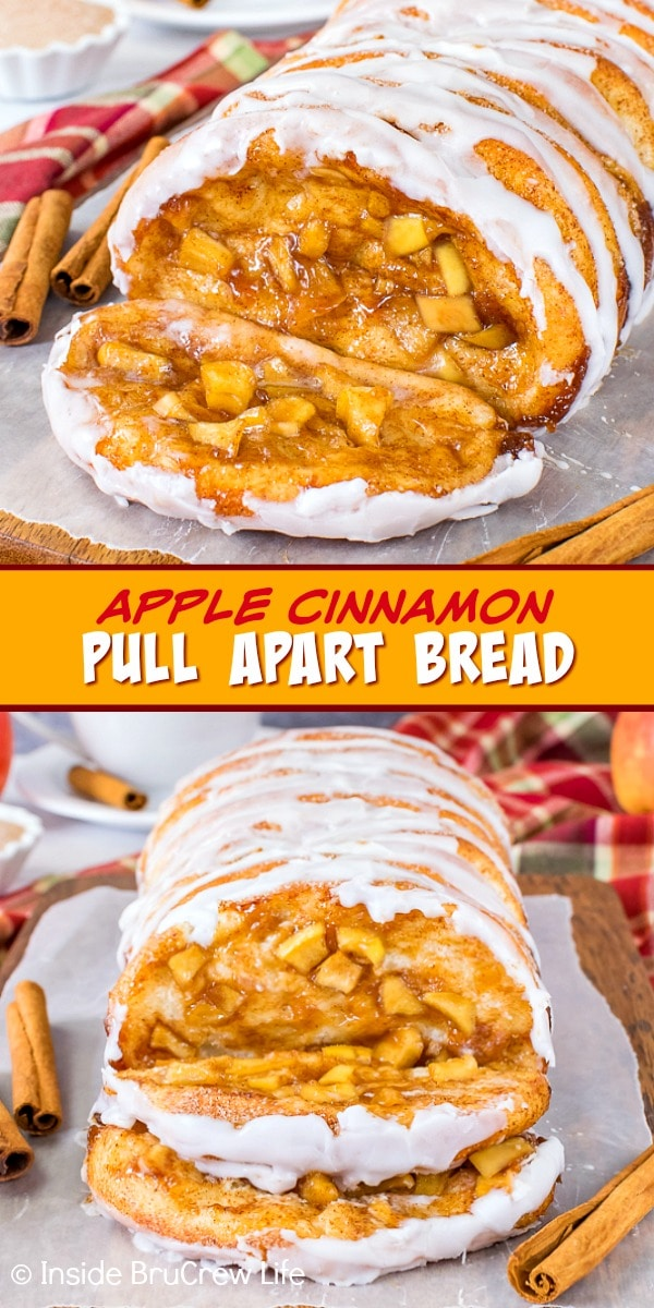 Two pictures of apple cinnamon pull apart bread collaged together with a yellow text box