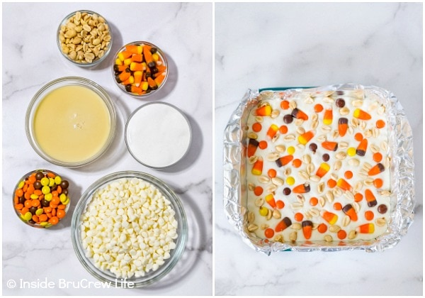 Two pictures collaged together showing the ingredients and how to make candy corn fudge