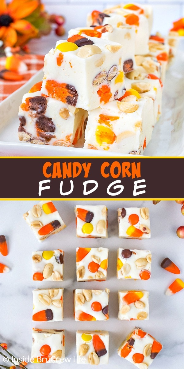 Two pictures of candy corn fudge collaged together with a brown text box