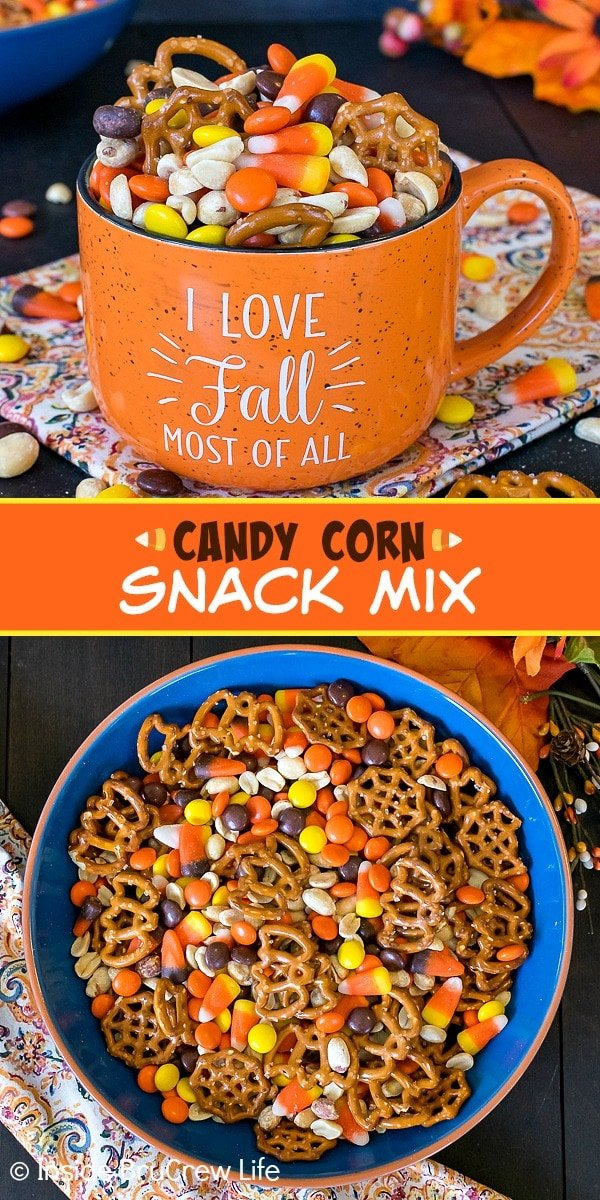 Two pictures of Candy Corn Snack Mix collaged together with an orange text box