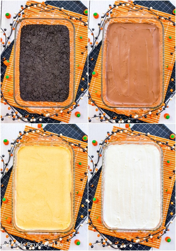 Four pictures collaged together showing how to make the layers in chocolate pumpkin lasagna