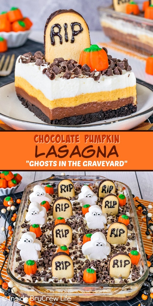 Two pictures of Chocolate Pumpkin Lasagna decorated as Ghosts in the Graveyard collaged together with an orange text box