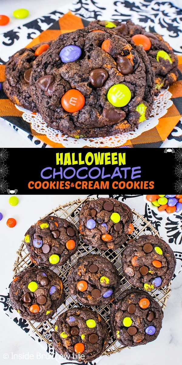 Two pictures of Halloween Chocolate Cookies and Cream Cookies collaged together with a black text box