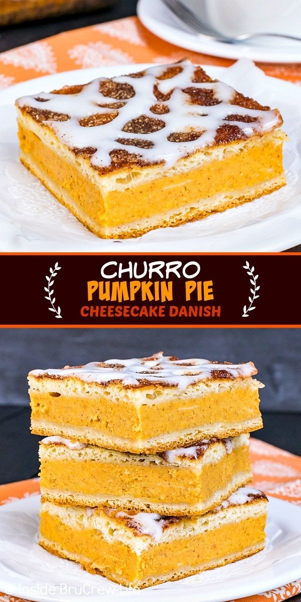 Two pictures of churro pumpkin pie cheesecake danish collaged together with a dark brown text box