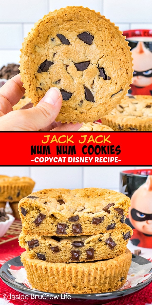 Two pictures of Jack Jack Num Num Cookies collaged together with a red text box