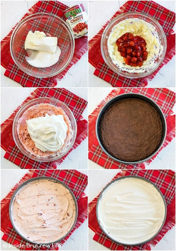 Collage of six photos showing how to put together a cherry mousse brownie cake
