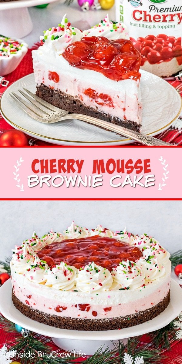 Two pictures of cherry mousse brownie cake collaged together with a pink text box