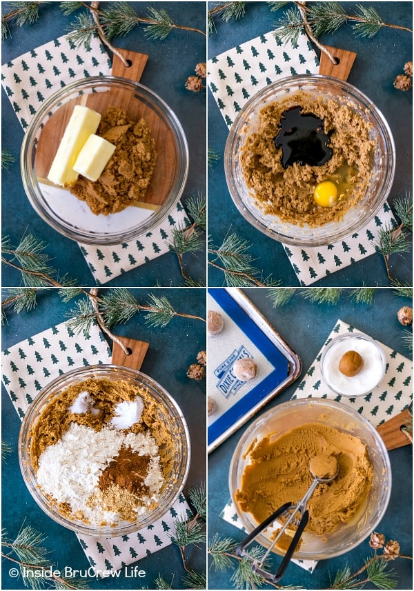 Four pictures collaged together showing how to make the dough for molasses crackle cookies