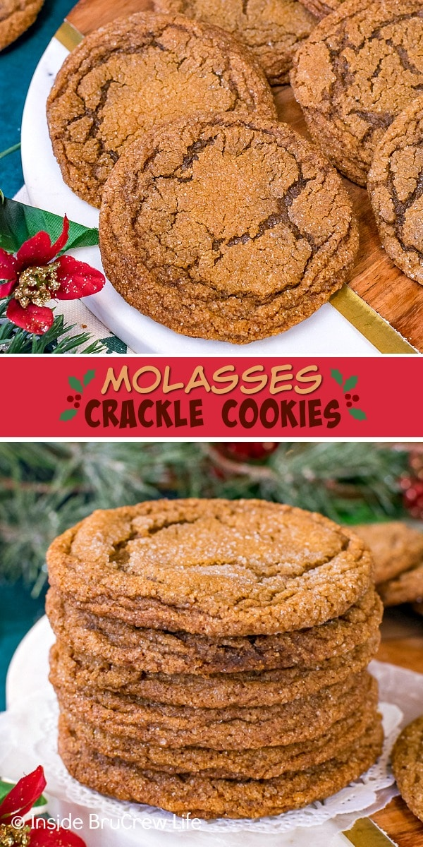 Two pictures of Molasses Crackle Cookies collaged together with a red text box