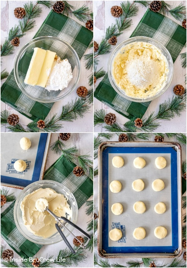 Four pictures collaged together showing how to make peppermint meltaways