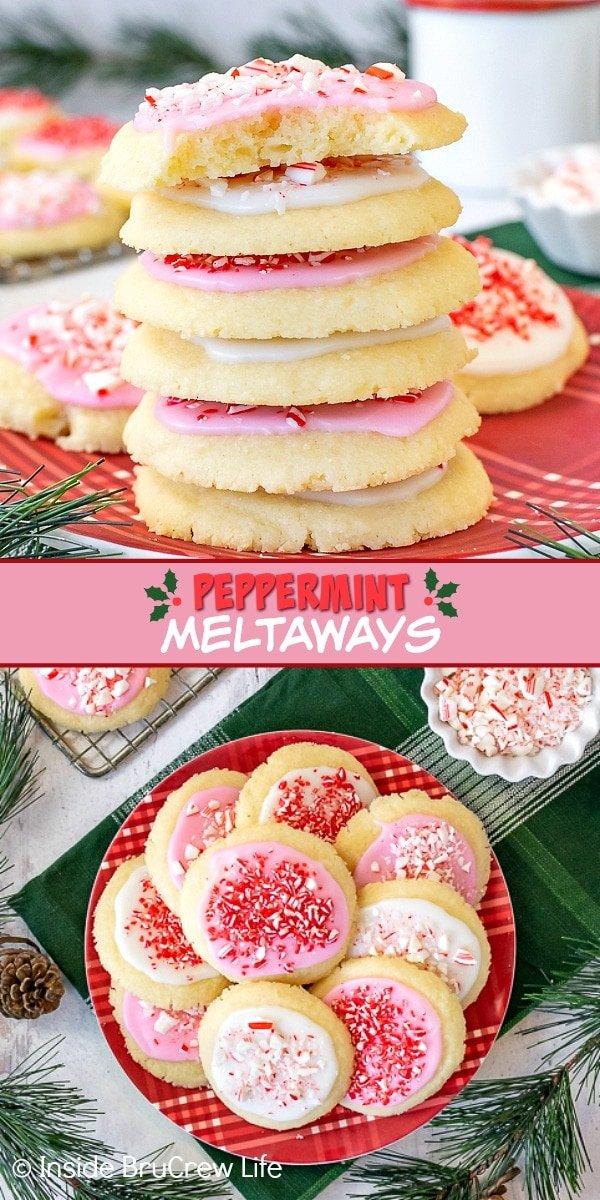 Two pictures of Peppermint Meltaways collaged together with a pink text box