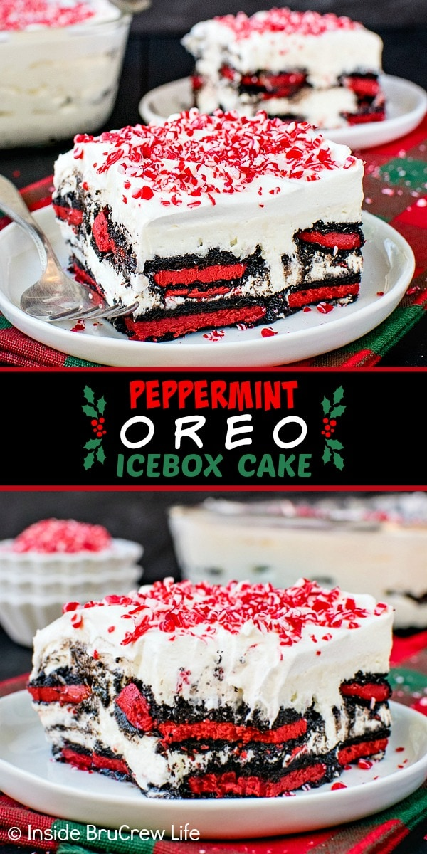 Two pictures of Peppermint Oreo Icebox Cake collaged together with a black text box