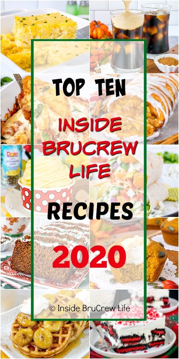 A collage picture of the Top Ten BruCrew Life Recipes from 2020