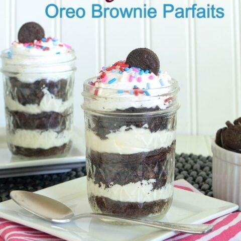 White Chocolate Oreo Brownie Parfait