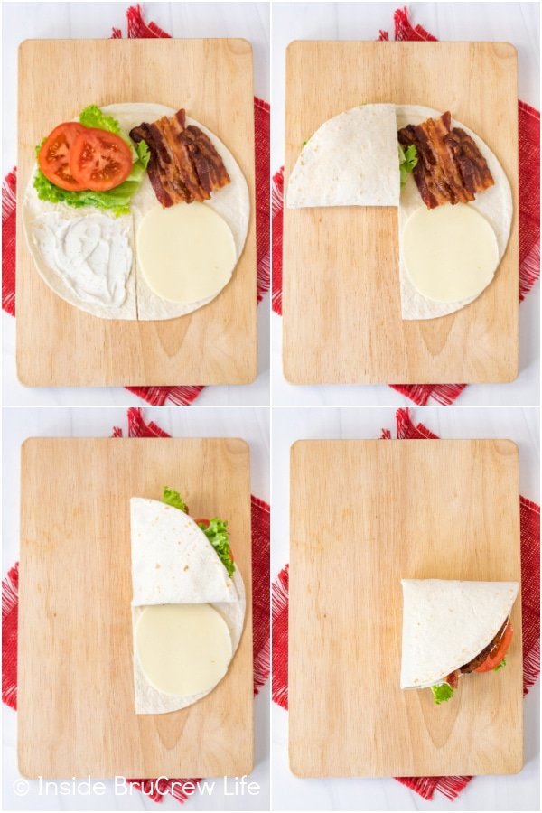 Four photos collaged together showing the steps to fold up a BLT tortilla wrap hack