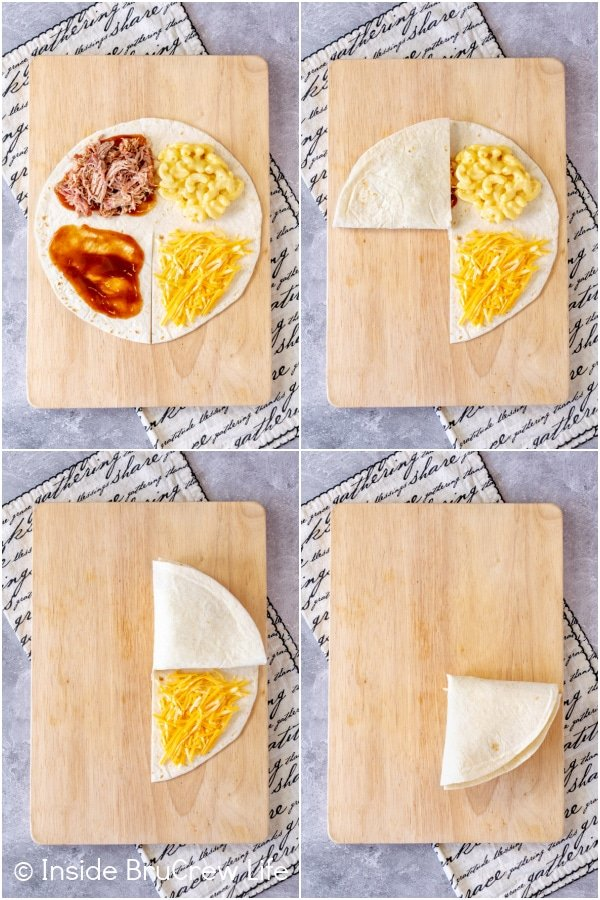 Four pictures collaged together showing the steps to folding a tortilla wrap hack
