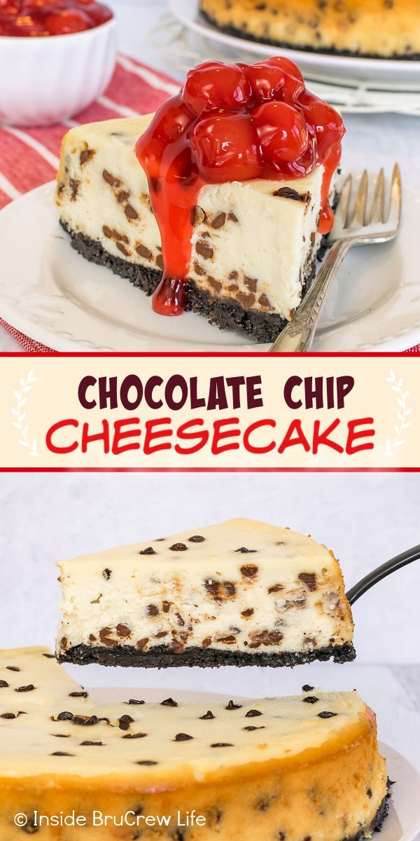 Two pictures of Chocolate Chip Cheesecake collaged together with a light tan text box