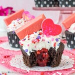 Dark Chocolate Raspberry Filled Cupcakes