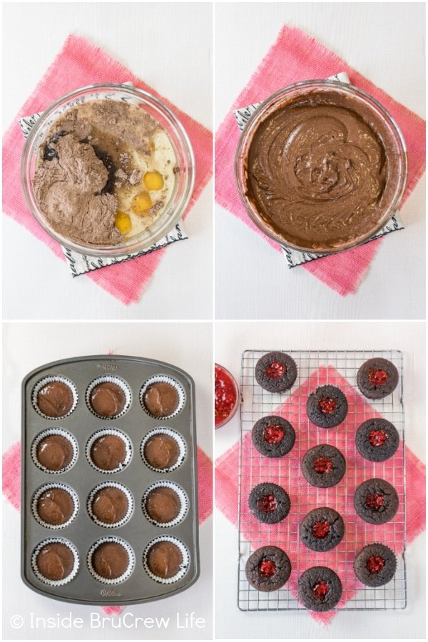 Four pictures collaged together showing the process for making chocolate raspberry cupcakes