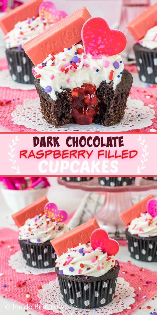 Two pictures of dark chocolate raspberry filled cupcakes collaged together with a pink text box