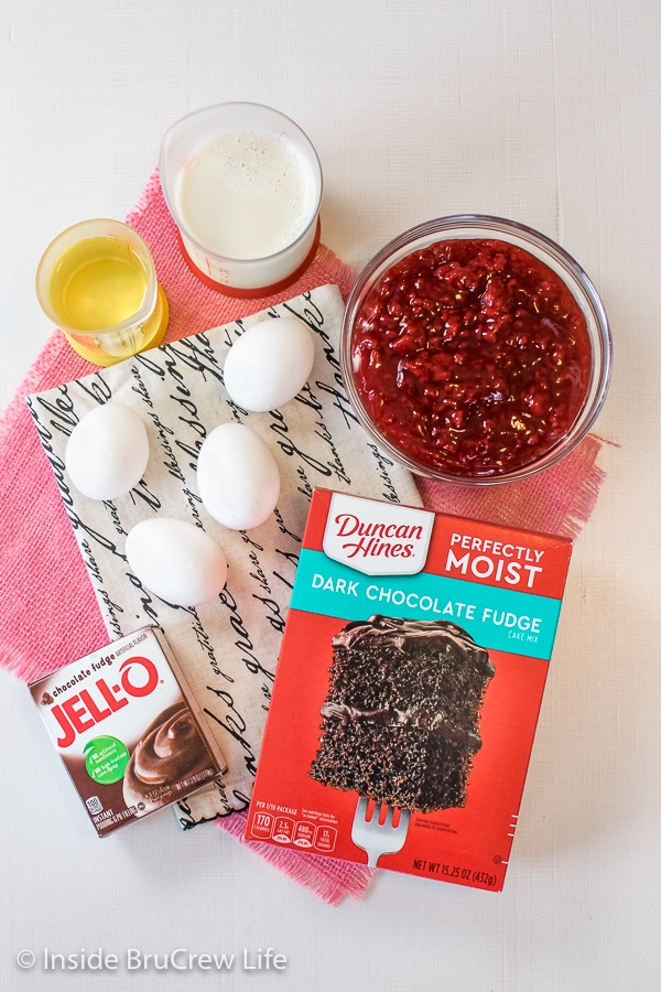 Ingredients needed to make dark chocolate raspberry filled cupcakes