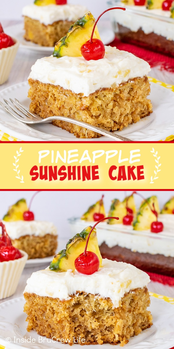 Two pictures of Pineapple Sunshine Cake collaged together with a yellow text box