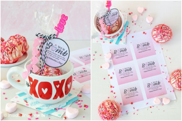 Two pictures of hot chocolate bombs wrapped in bags and bomb gift tags collaged together