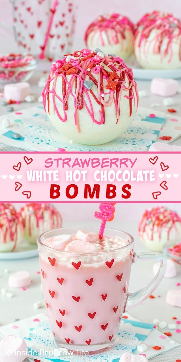 Two pictures of Strawberry White Hot Chocolate Bombs collaged together with a pink text box